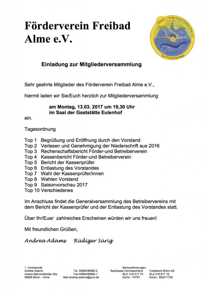 einladung zur mitgliederversammlung 13.03.2017 | badcelona alme, Einladung